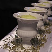 Mini urn and bead garland centerpiece