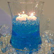 Blue water gems in hour bowl with glass bubbles centerpiece