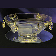 Small centerpiece bowl with crystal hearts & heart candles centerpiece