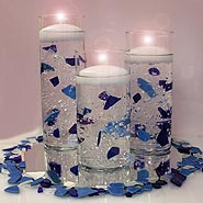 Sea glass in cylinders with water gems candle centerpiece