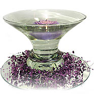 Rose candle & flared bubble bowl centerpiece