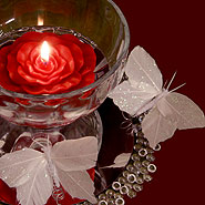 Butterlies and rose floating candle centerpiece