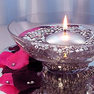 Silver diamond drops with silver floating candles