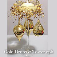 Gold Drops & Tower Candle Centerpiece Kit