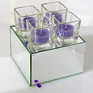 Mirror riser & container with cube votives & tea lights