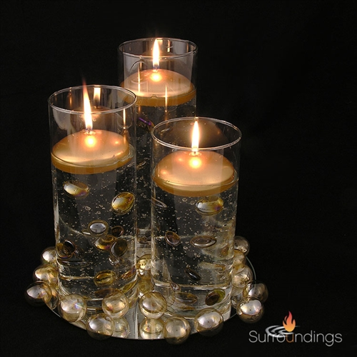 3 Quot Silver And Gold Round Floating Candles