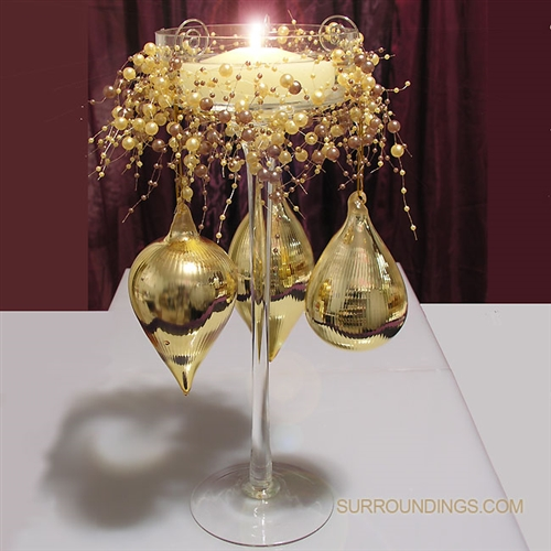 Gold drops tower floating candle centerpiece