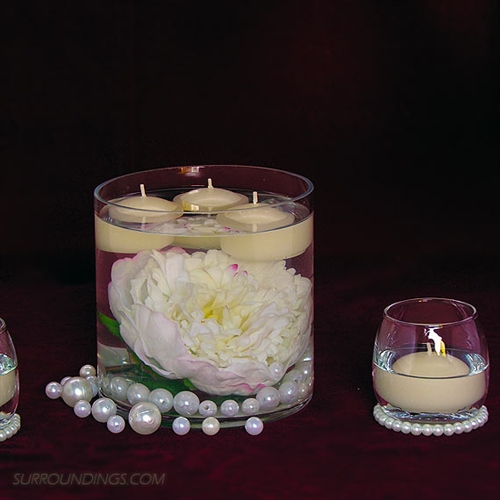 Fall Floating Candle Centerpieces: Peony & Pearls In Cylinder Floating Candle Centerpiece