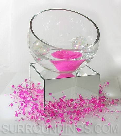 Rose Floating Candle Centerpiece In Slant Bowl With Glass
