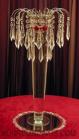 Crystal Elegance Tall Floating Candle Centerpiece