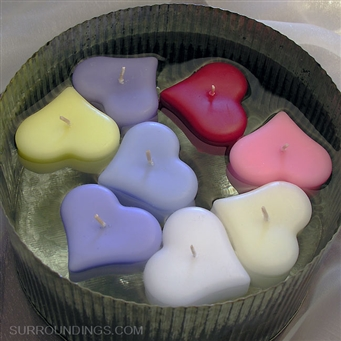 "Small 2"" floating heart candles"