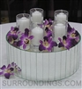 Votives & orchids on riser