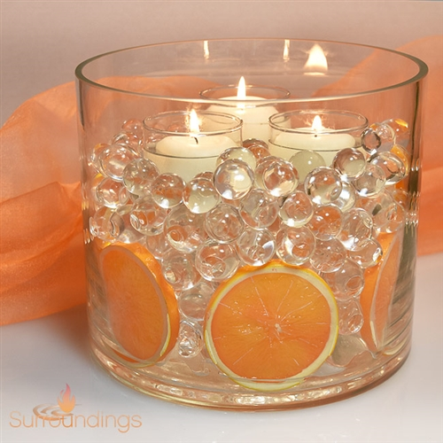 Fruit Slices in water pearls centerpiece