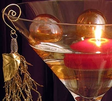 Gold martini floating candle centerpiece kit