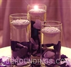 Large cylinder and floating rose candles centerpiece kit with rose petals and mirror