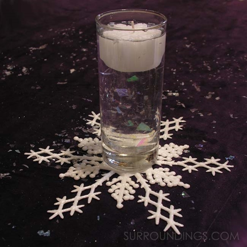 Mini snowflake floating candle centerpiece, for weddings, winter events, and more