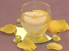 Mini floating flower candle centerpiece, great for spring and summer events.