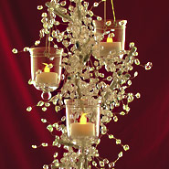 hanging votive cups on crystal centerpiece tree