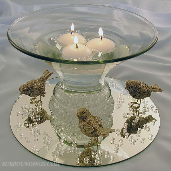 Floating Candle Centerpiece with Decorative Birds