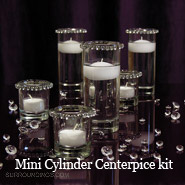 Mini Cylinder & Crystals Candle Centerpiece kit