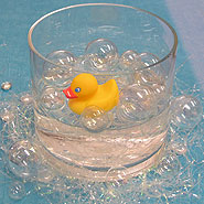 rubber ducky on floating bubbles centerpiece