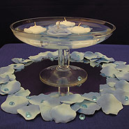 Cara bowl and floating rosebud candle centerpiece