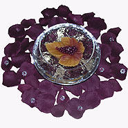Grape leaf candle with eggplant rose petals & diamonds