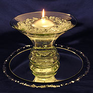 Silver ringed round floating candle centerpiece kit