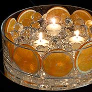 Orange & water pearls candle centerpiece