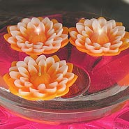 Orange dahlia floating candles