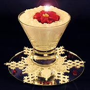 Snow martini candle centerpiece