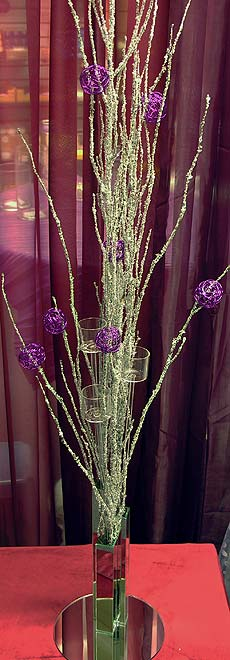 tall centerpiece with birch branches