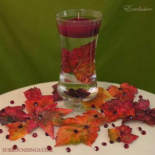 """Fall Floating Candle Centerpieces: Giselle Vase With 3"""" Floating Candle, Decorative Leaves"""