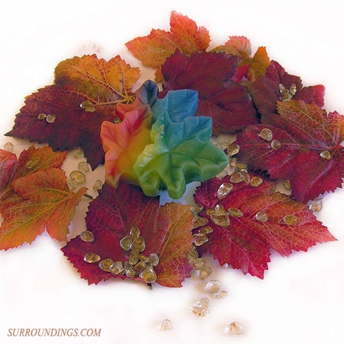 Fall leaf floating candle centerpiece byoc