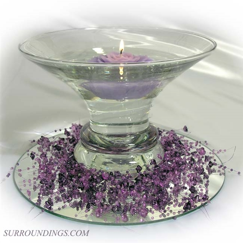 Lavender rose purple bead garland floating candle