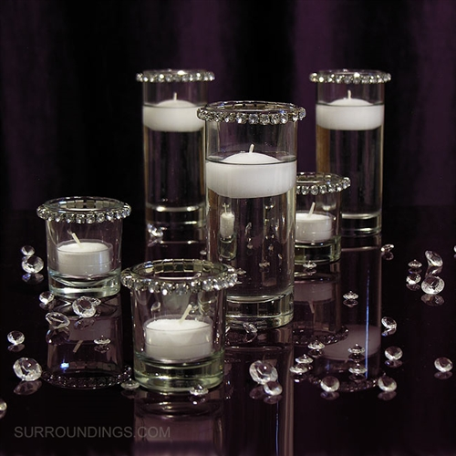 Flowers With Floating Candle Centerpieces: Mini Cylinders & Crystals Floating Candle Centerpiece Kit