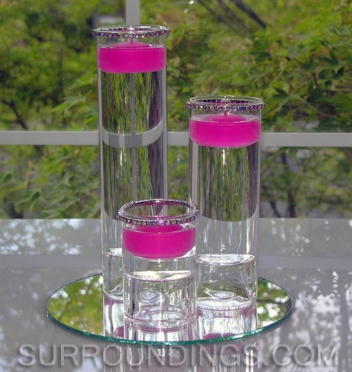 Cylinders Amp Crystals Floating Candle Centerpiece